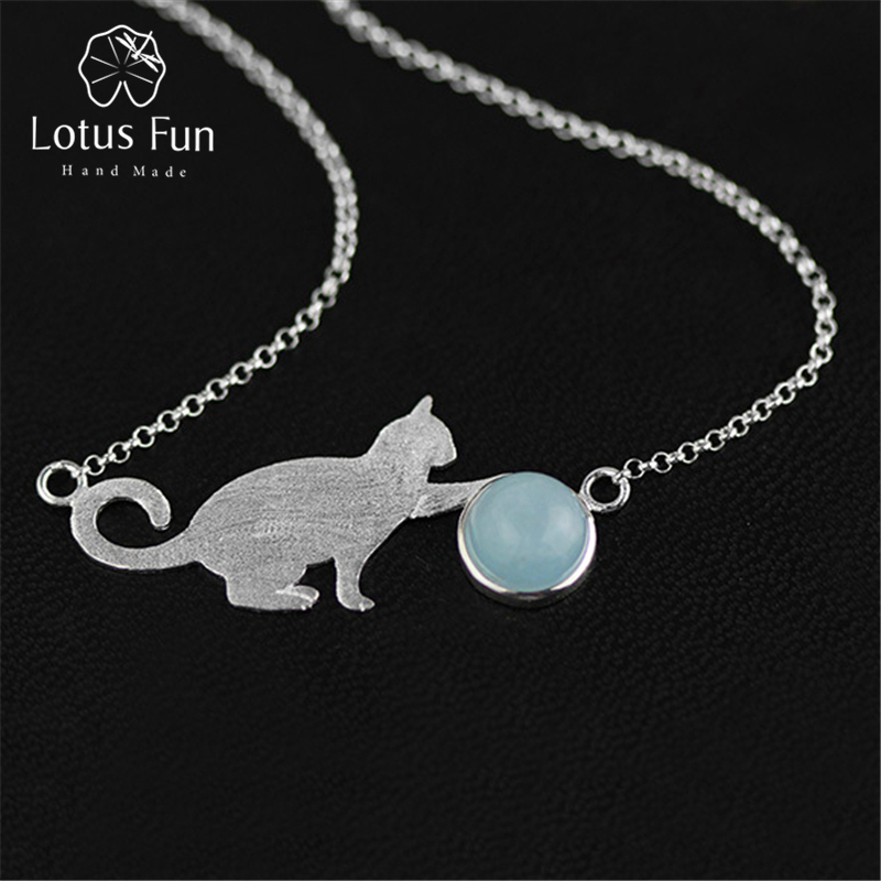 Lotus Fun Real 925 Sterling Silver Natural Aquamarine Handmade Fine Jewelry Playing Cat Necklace with Pendant for Women Collier