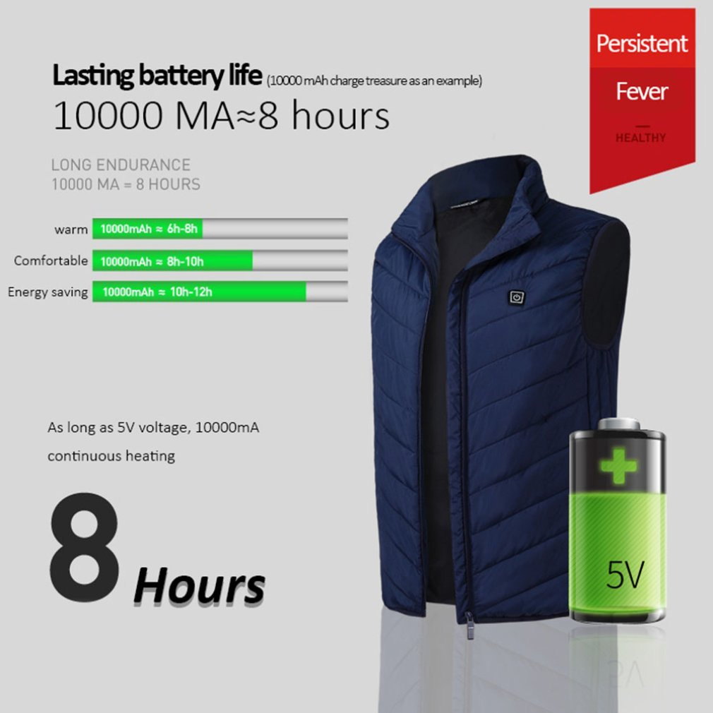 Intelligent Charging Heating Vest Electric Heated Vest USB Thermal Warm Cloth Durable Winter Jackets BlueIntelligent Charging Heating Vest Electric Heated Vest USB Thermal Warm Cloth Durable Winter Jackets Blue