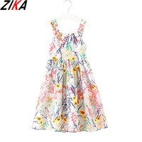 ZIKA Flower Girls Dress Cotton Sleeveless Bohemian Style 2017 Brand Summer Princess Beach Sundress Children Clothes