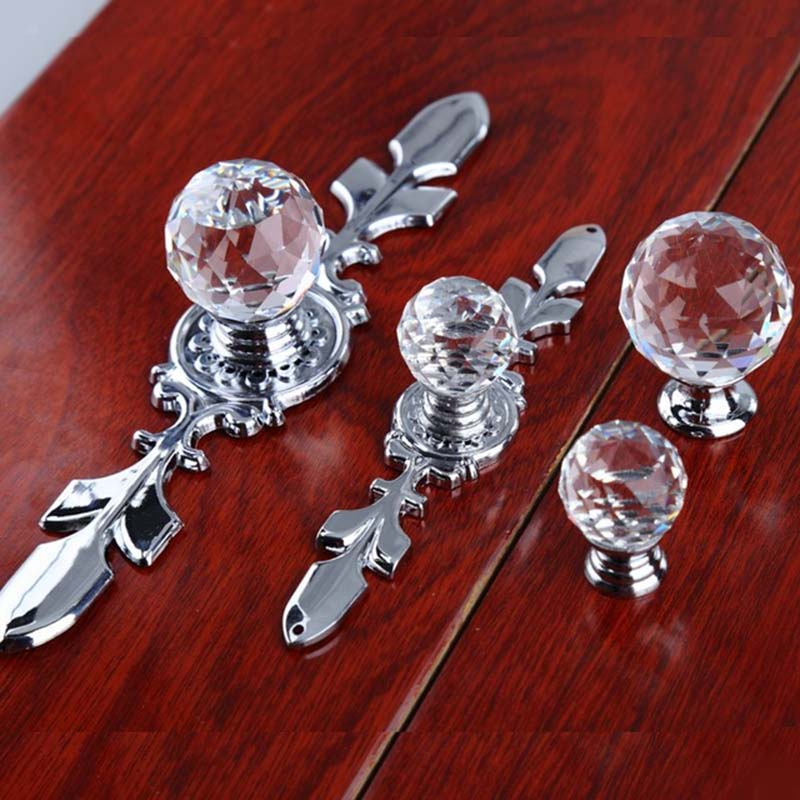120mm Clear Glass Crystal Drawer Cabinet Knobs 170mm Rhinestone Chrome Dresser Pulls Kitchen Cabinet Knobs With