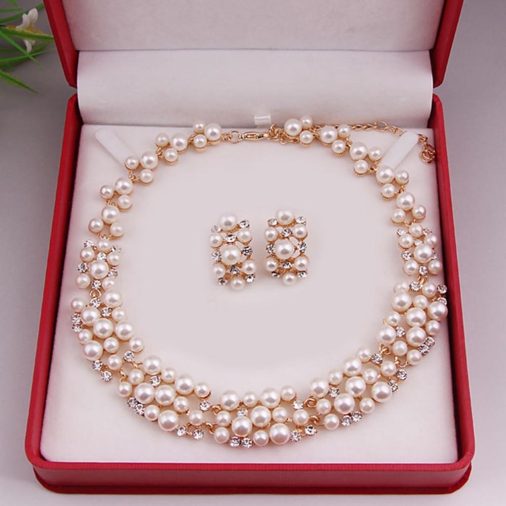Weltweit Imitation Pearl Einfache Elegante Brautschmuck Sets Kit Geschenk Schnelle Colar Halskette Ohrringe Für Freunde Mädchen Party Geschenk