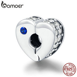 BAMOER Real 925 Sterling Silver Love Best Wishes Charms Heart Clasp Beads fit Women Silver Bracelets DIY Jewelry Making SCC890
