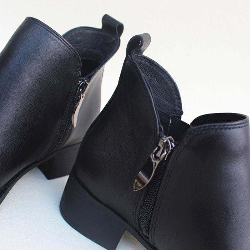 Chaussonsw8120Black Cuir Chelsea Chaussures Noir Talon 100Véritable Femme Bottes 3 Cm 5 Cheville Femmes 2019 Dames H9D2WEI
