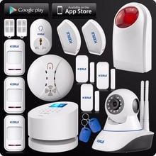 2016 KERUI W2 WiFi GSM PSTN RFID 2.4 pouce TFT couleur Affichage Cambrioleur À La Maison Système D'alarme Wifi Double Antenne IP caméra