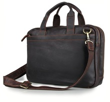 "High Quality Vintage Brown Real Genuine Leather Briefcase Men 14"" Laptop Bag Portfolio Men Messenger Bags #M7092"