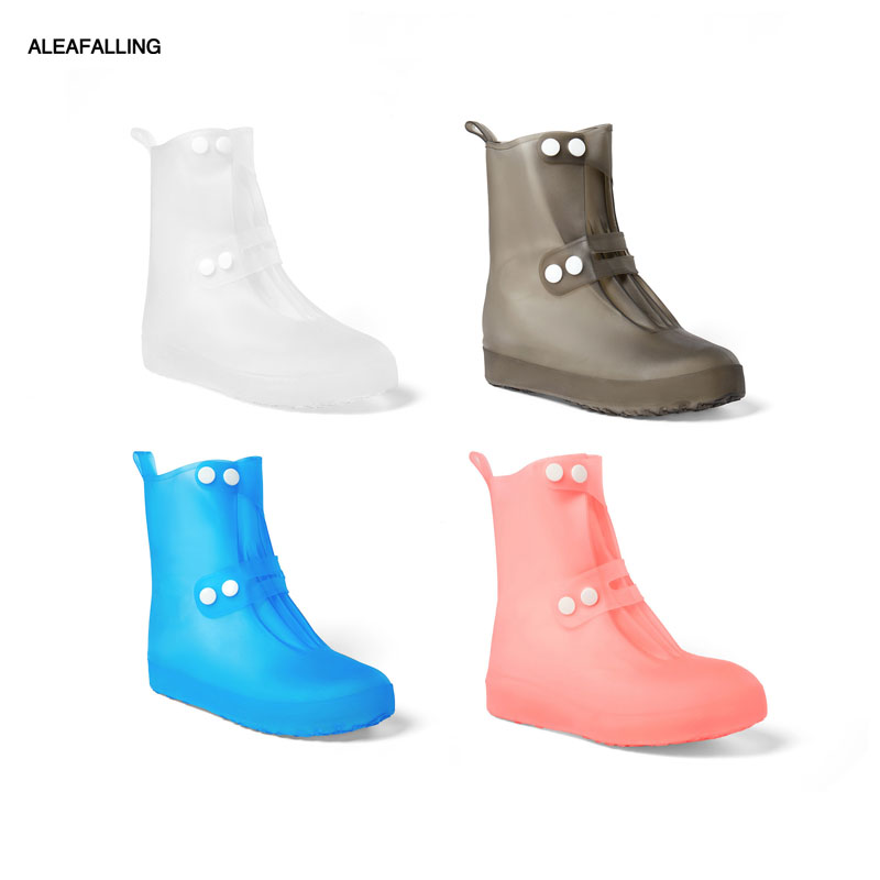 Aleafalling Women PVC Integral Mould Waterproof Reusable Rain Shoes Covers Rain Boot Anti-skid High Outdoor Shoes Covers 34-45