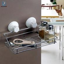 Free shipping Bathroom management Rack magic dual metal shelf strong suction cup kitchen storage rack tool A344