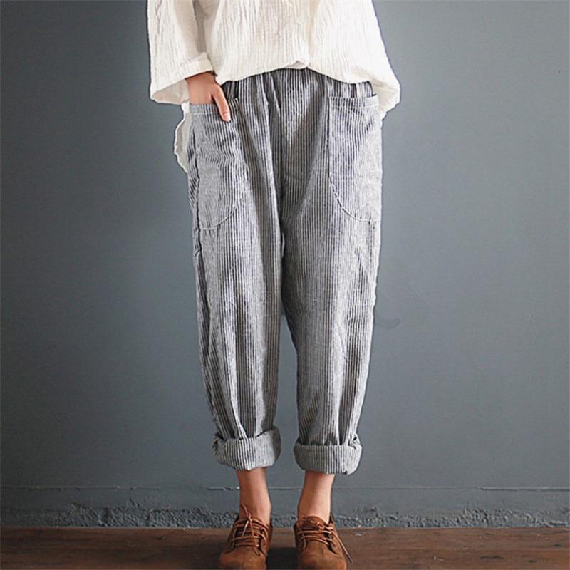 YRRETY Summer New Woman Linen Striped Harem Pants Fashion Women Cotton Loose Striped Full Pants Female 2018 Casual Pants S-5XL 4