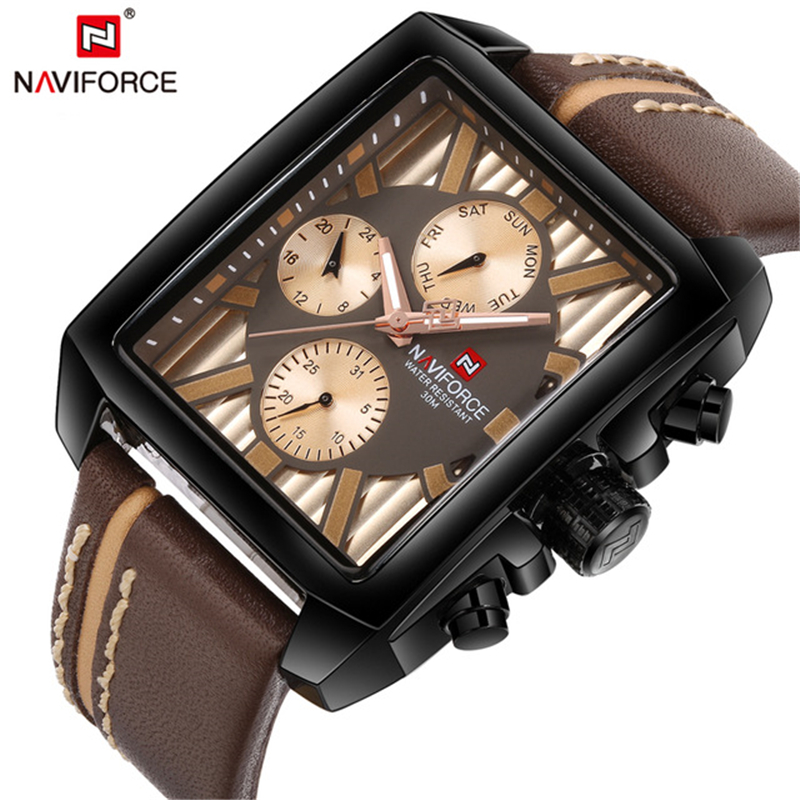 New NAVIFORCE Mens Watches Top Brand Luxury Rectangle Casual Sport Watch Men Waterproof Leather Quartz Wrist Watch Male Clock