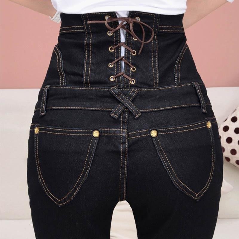 Slim High Waist Jeans Women Plus Size Denim Trousers Casual Single Breasted Bodycon Pencil Elastic Jeans Black DTY04