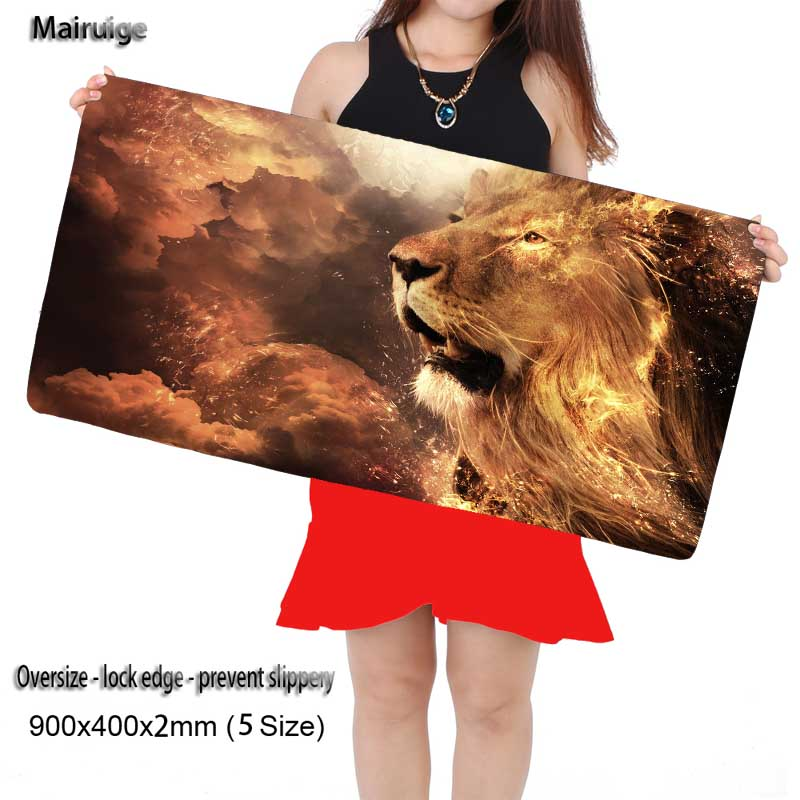 Mairuige Free Shipping Lions Head Animal Large Mouse Pad Keyboards Mat for League of Legends Dota 2 LOL CS Go for Game Player