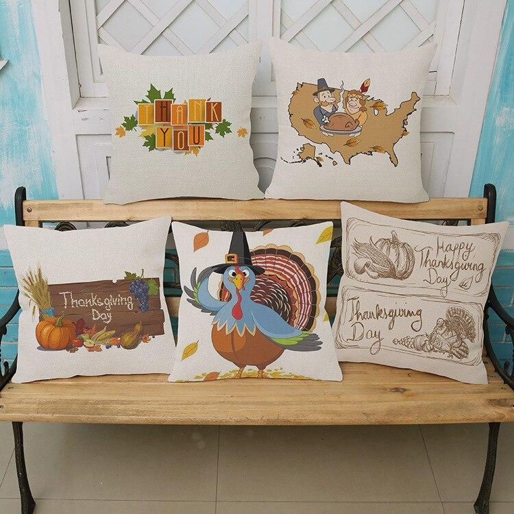 Decorative Throw Pillows Case Turkey For Thanks Giving Day Cotton Linen Cushion Cover Sofa Home Decor