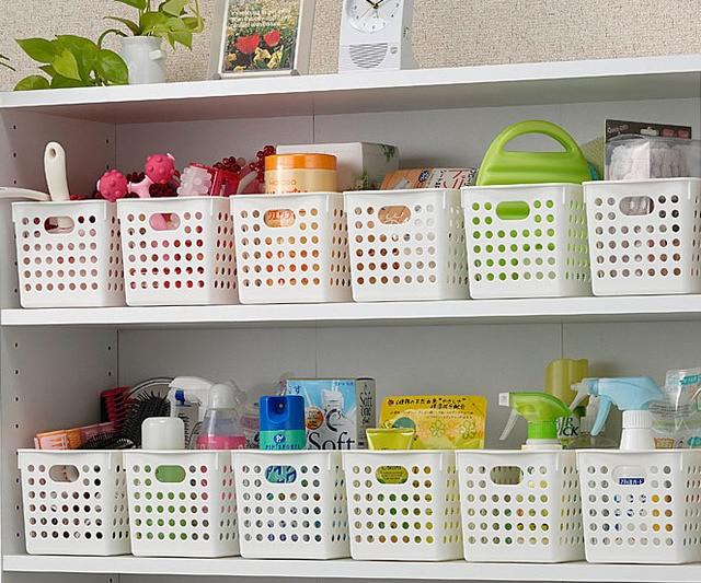 Inomata Plastic Storage Basket Box Bathroom Desktop Finishing
