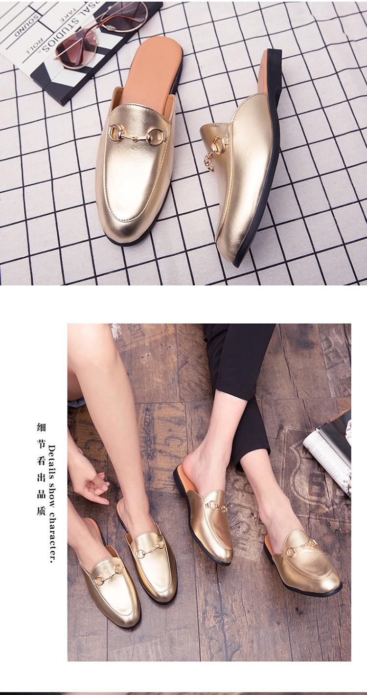 Men Backless dress leather slipper shoes Men unisex Bee prints Horseshoe buckle Casual business wedding Leather shoes women 18