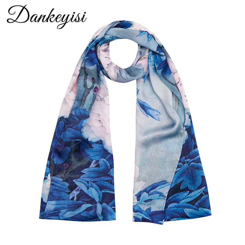 DANKEYISI Long Ladies Silk   Scarf   Women Shawl Pure Silk Fashion Beach Shawl Cover Ups Women Real Silk   Scarves     Wraps   Female