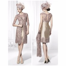 2017 Mother Of The Bride Dresses Sheath High Collar Champagne Lace Short Brides Mother Dresses For
