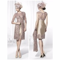 Fashion Mother Of The Bride Dresses with Jacket Sheath High Collar Champagne Lace Mother Dresses for Wedding Party