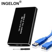 Ingelon 캐디 인클로저 블랙 ssd 박스 usb 3.0 msata 하드 디스크 3030mm 3050mm 삼성 kingston ssd 용 외부 컨버터 케이스