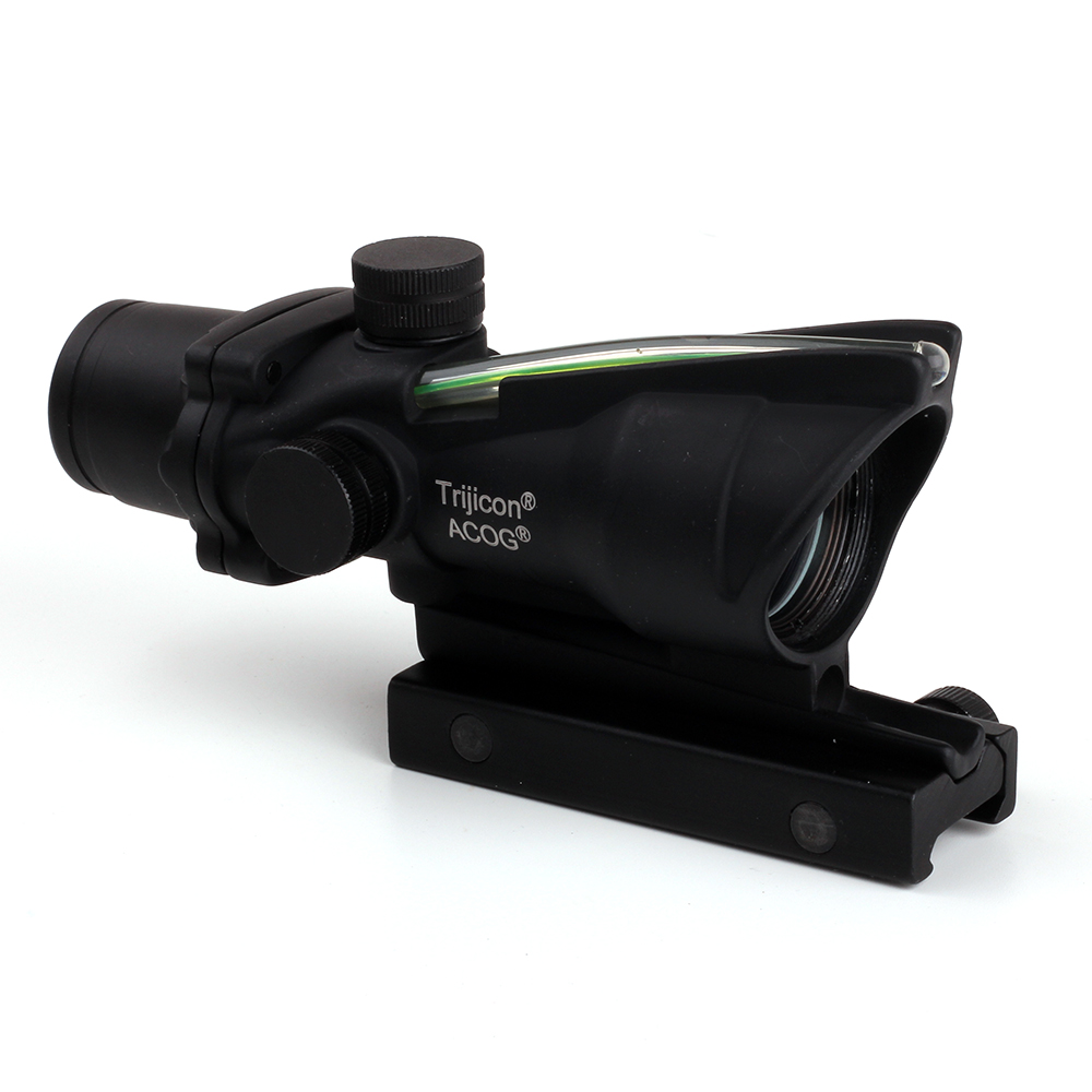 Trijicon ACOG Style 1X32 Real Fiber Optics Green Dot Illuminated Sight Scope Tactical Hunting Riflescopes Picatinny