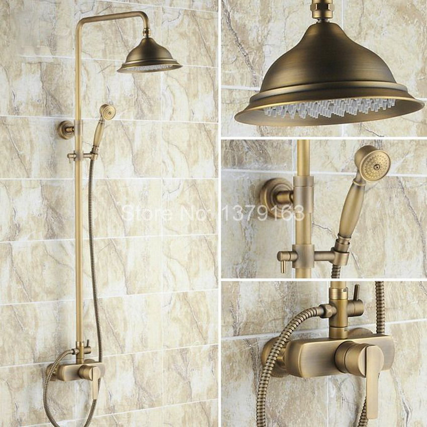 Bathroom Rain Shower Faucet Set Antique Brass Single Lever Mixer Tap + 8.2 Inch Round Rainfall Shower Head + Handshower ars171