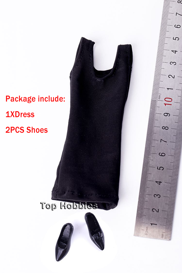 1/6 Scale Female Sexy Black Transparent Dress Mini Skirt Yarn Clothes High heels Shoes Suit Fit/12 Women Phicen Body Doll Toys