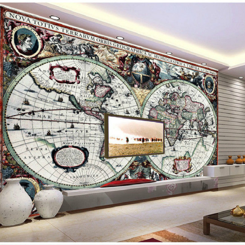 Nautical world map of large living room bedroom wall painting mural 3D wallpaper TV backdrop stereoscopic 3D wallpaper stone vine leaves mountain large mural 3d wallpaper tv backdrop living room bedroom wall painting three dimensional 3d wallpaper
