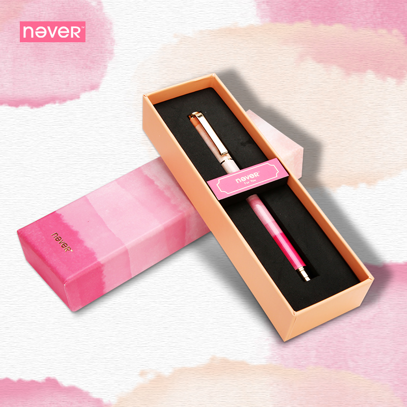 Never Watercolor Collection Gel Ink Pen 0.5mm Black Ink Pen Gel Pen Gift Packing Kawaii Stationery Business Office Accessories horses pattern aluminum alloy black gel ink pen sign pen black bronze