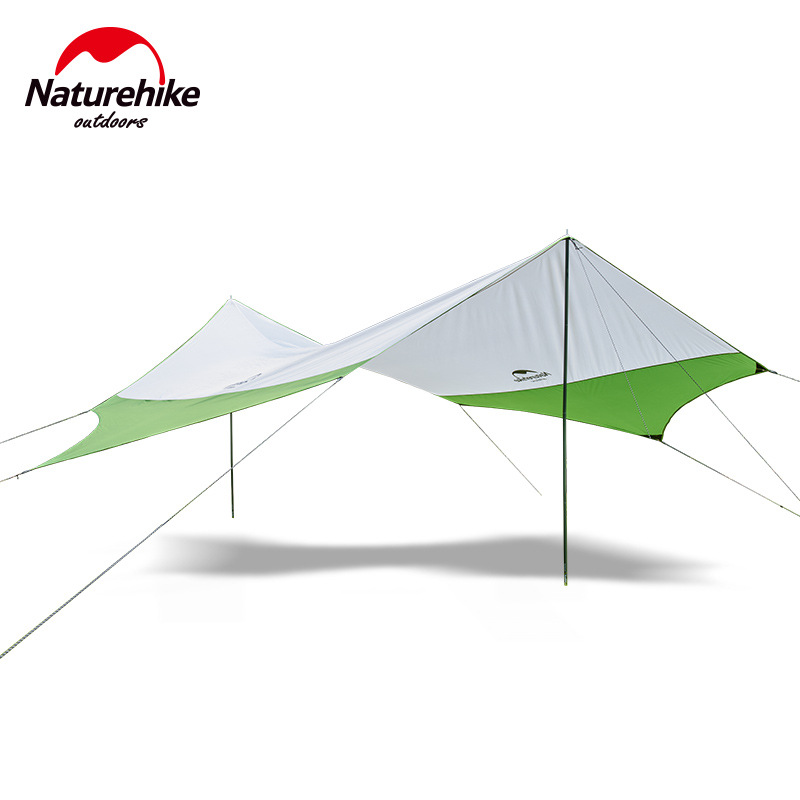 Naturehike Hexagonal Sun Shelter With Poles Waterproof Awning Canopy Beach Tent Beach Shade Tarp Pergola Camping Sunshade Gazebo naturehike new hexagonal canopy outdoor uv beach tent camping large pergola awning multiplayer rain