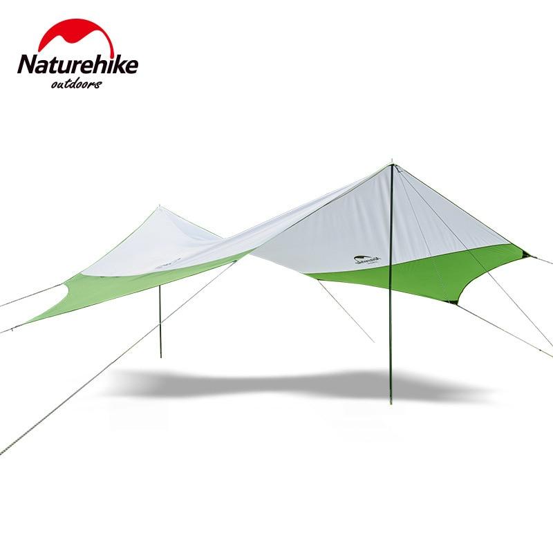Naturehike Hexagonal Sun Shelter With Poles Waterproof Awning Canopy Beach Tent Beach Shade Tarp Pergola Camping Sunshade Gazebo