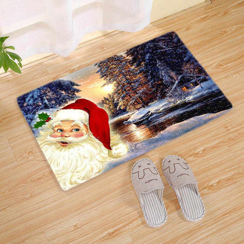 Flanel Merry Christmas paspas halı noel dekorasyon ev için noel baba noel süsler 2020 noel partisi yeni yıl