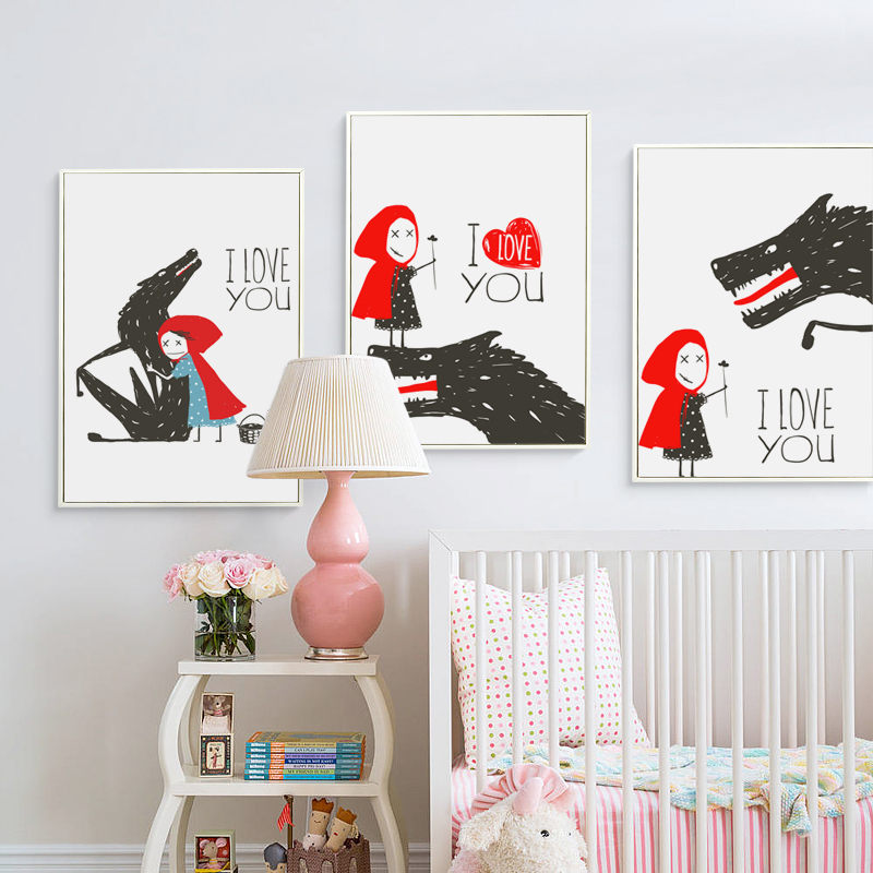 Canvas Painting Picture Abstract Cartoon Fairy Tale Little Red Riding Hood With Wolf Wall Art Canvas Poster And Print Home Decor