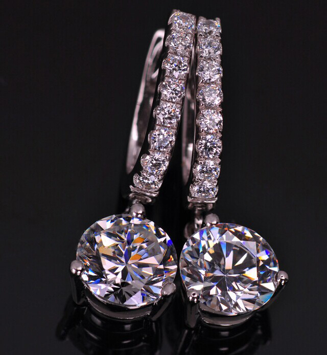 Round Paved Earrings Drop 1ct Piece Lovely Diamond