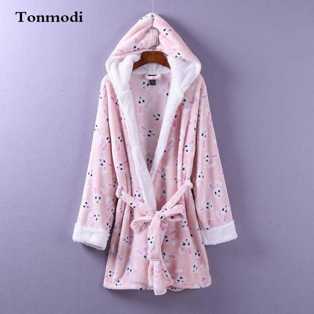 Robes com capuz robe de veludo grosso Anime coelho inverno Mulheres roupão Cardigan Rendas Camisola