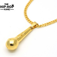 High Quality Hip Hop Rapper Music Nightclub Necklace Mens Gold Silver Plated Microphone Pendant Necklace Rock