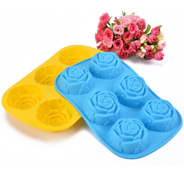 1PC LONGMING HOME DIY Handmade Cake Molds 6 Lattices Rose Flower Shape Silicone Soap Mould Silicone Cake Egg Tart Molds LB 010