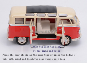 Image 4 - 1:24 Alloy Diecast VW Classical Minibus Pull Back Car toys Mini Van Bus with light and voice toy cars for children