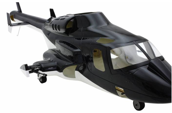 new version airwolf 450 fuselage V3 Blue&White Bell 222 helicopter  W/retracts&metal landing gear