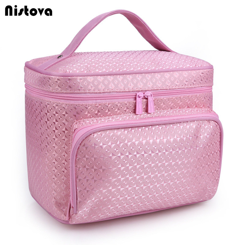 Ladies Fashion Portable Makeup Double Zipper Special Purpose Big Pocket Nylon Box Bags For Travel Cosmetic