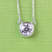 Solid 18 K 750 White Gold 1 Carat ct Forever Brilliant Wedding Engagement Solitare Pendant Necklace Lab Grown Dia mond Jewelry