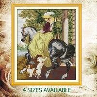 Joysunday contados cross stitch diy a senhora no cavalo cão chapéu dmc14ct11ct bordados de algodão do bebê quarto sala de pintura