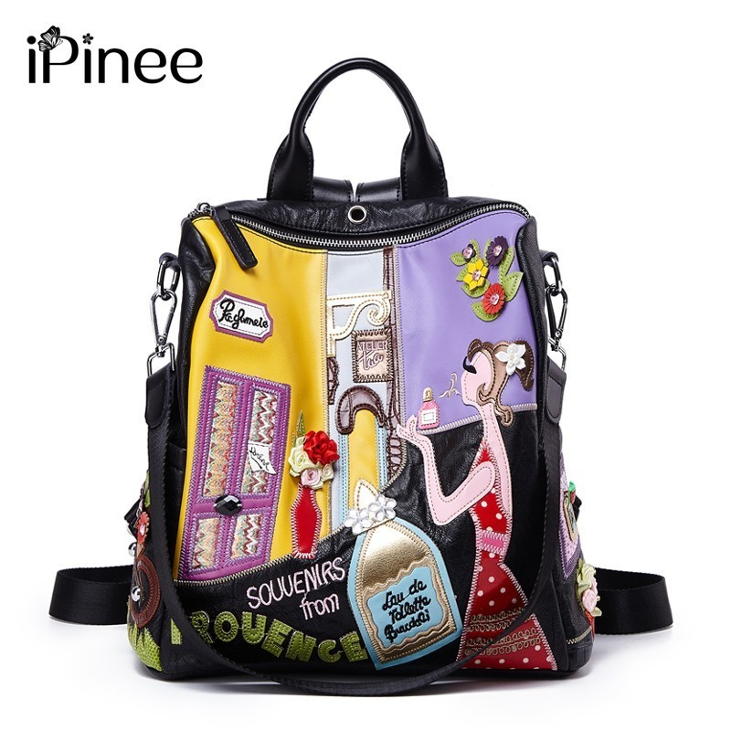 iPinee Women Backpack Fashion Causal bags High Quality Embroidery Female Shoulder Bag PU Leather Backpacks for