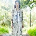 Fashion Elegant Chiffon Print Long Cardigan Shirts Summer New 2016 Women Mandarin Collar Seven Sleeve Split Sun Blouse