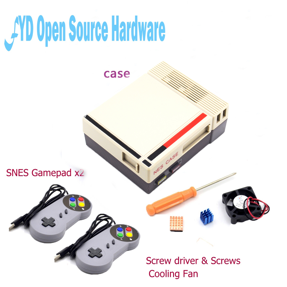1set Mini NES  Case Retroflag case with Cooling Fan and 2 Pack SENS Gamepad Controller for RetroPie Raspberry Pi 3/2/B+