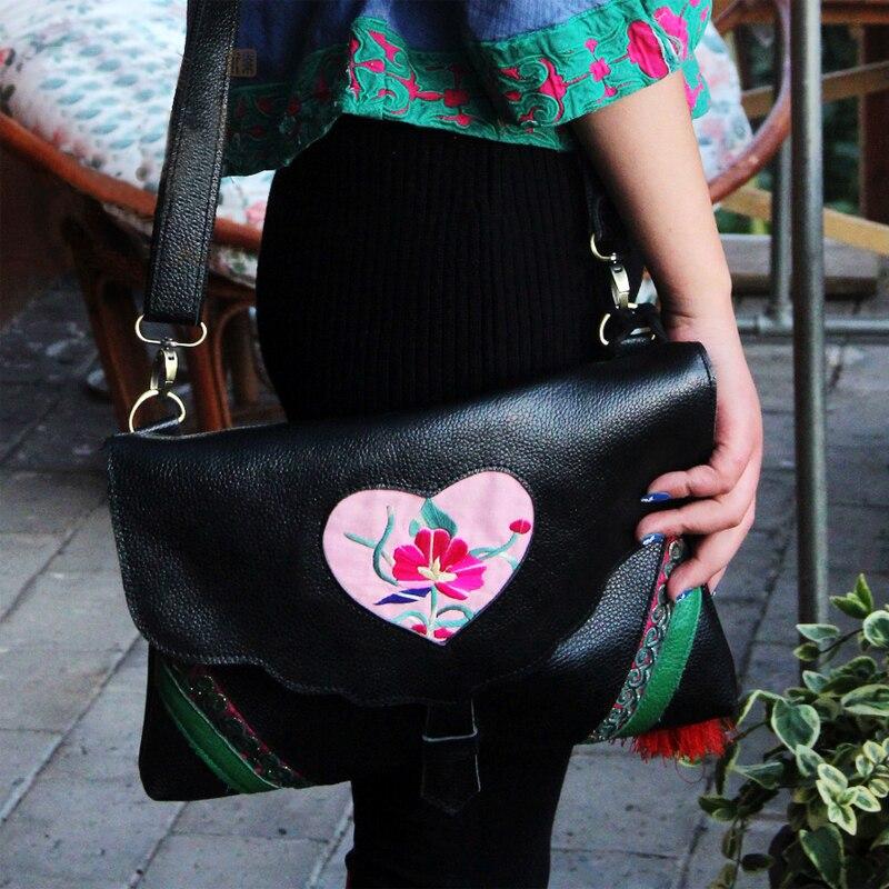 Fashion Ethnic embroidery women bags Black genuine leather shoulder bags Travel messenger bags 2018 new original genuine leather women handbags shoulder portable embroidery bag ethnic style embroidery big dumplings bags