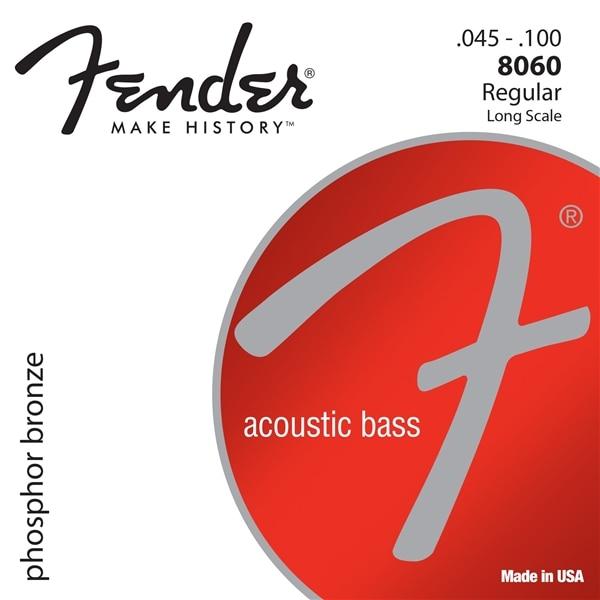 Fender 8060 Phosphor Bronze Acoustic Bass Strings - Long Scale 45-100 fender strings new acoustic 60xl phos brnz ball 10 48