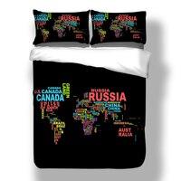 Bedspreads Black/Blue Map Bedding Set 3pcs with Pillow Cover Duvet Cover Comforter Bedding Sets Bohemian Mandala Bedclothes