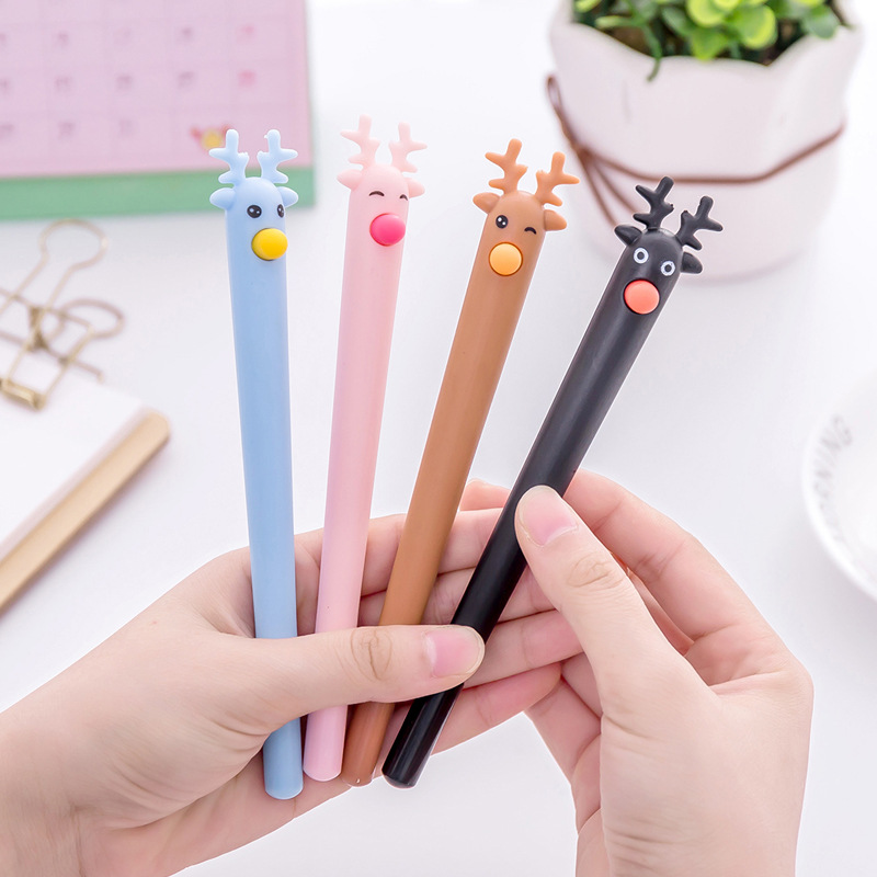 (4 pieces/lot) Kawaii Silicone Deer Gel Pen Cute School Cartoon Christmas Elk Ink Gen for Kids cluci 30pcs 6 7mm lime green pearls oysters free shipping charms pearls to make bracelets rings necklaces