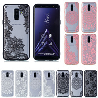 For Samsung Note 9 A720 A6 Plus A8 2018 Luxury Retro Lace Flower Phone Case Hard Fashion Sexy Back Cover