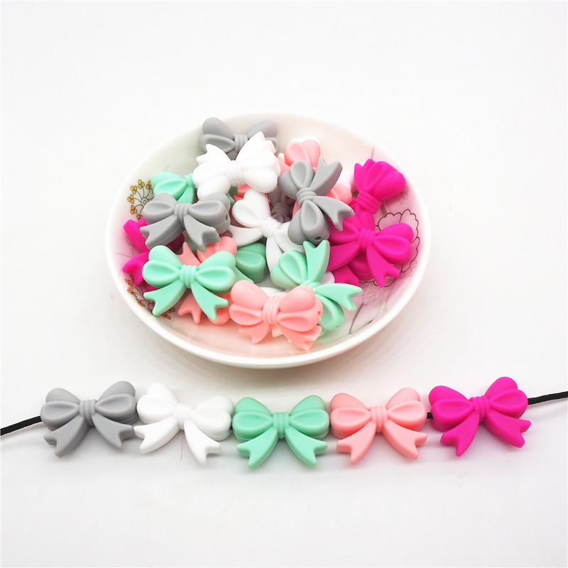 Chenkai 20pcs Silicone Bow Tie Teether Beads DIY Baby Shower Teething Montessori Sensory Toy Bow-Knot Jewelry Making Beads