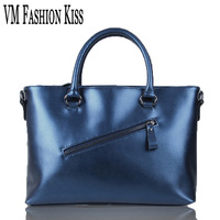 VM FASHION KISS Import Genuine Leather Women Large Capacity Totes Simple Cowhide Shoulder Bag Famous Brand
